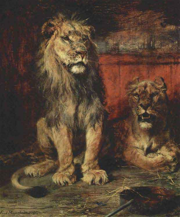 Lions painted by Meyerheim